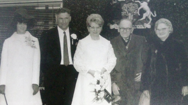 "A young Amy and Arnold Hardy (middle) on their wedding day in 1970. See Ross Parry copy RPYCOUPLE: A devoted elderly couple married for nearly 50 years died within days of each other because ""they could not bear to be apart"". Arnold Hardy, 89, heartbreaking died without saying goodbye to his beloved wife Amy, 92, who passed away 10 days later. The pair both lived in different nursing homes and she was never told of his death but sensed ""something was wrong"", according to family. In a fitting tribute to the dedicated couple, their ashes are now buried in plots side-by-side at a churchyard in Warsop, Notts."