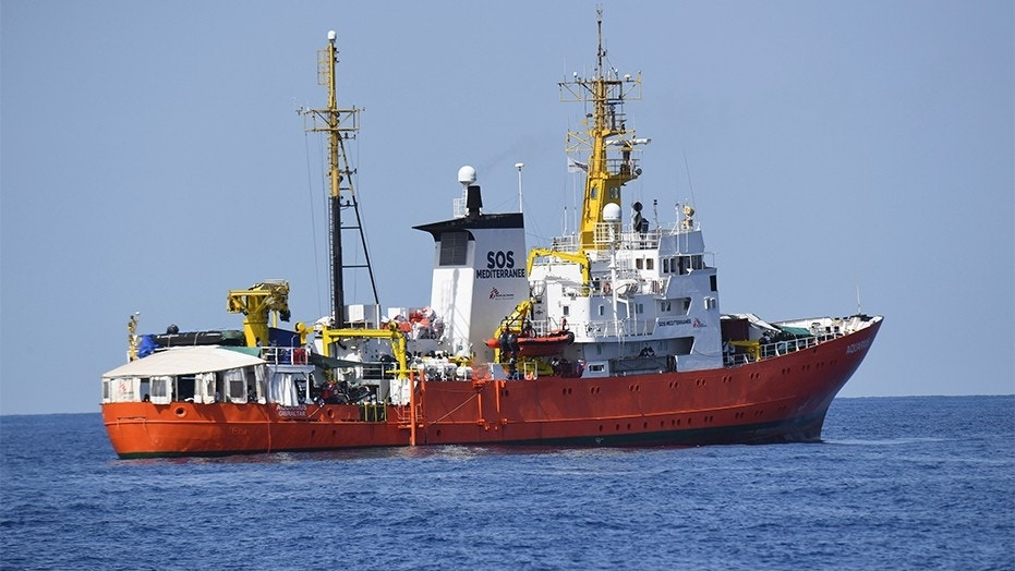 "June 12, 2018: The French NGO ""SOS Mediterranee"" Aquarius ship is seen in the Mediterranean Sea."