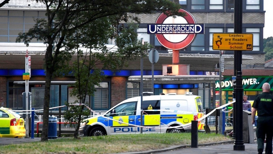 Emergency services at the scene of a small explosion at Southgate Underground station.