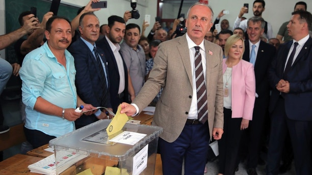 Muharrem Ince, the presidential candidate of Turkey's main opposition Republican People's Party, or CHP, casts his ballot for Turkey's elections at a polling station in Yalova, northwestern Turkey, Sunday, June 24, 2018. Turkish voters are voting Sunday in a historic double election for the presidency and parliament. (AP Photo)