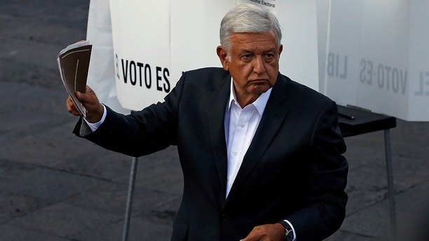 Presidential candidate Andres Manuel Lopez Obrador, of the MORENA party, during general election in Mexico City, Mexico, Sunday, July 1, 2018. (AP Photo/Marco Ugarte)
