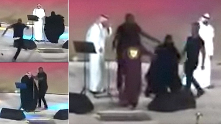 A woman rushed the stage during Majid al-Mohandis' performance.