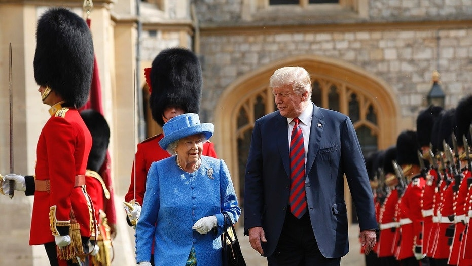 Queen Elizabeth reportedly wore a brooch (not pictured) former President Barack Obama and former first lady Michelle Obama gave her during a 2011 visit on the day President Trump arrived in the U.K.