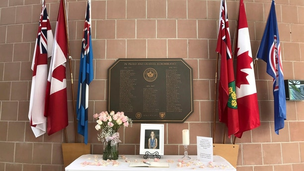 A memorial to Julianna Kozis assembled by the city of Markham is seen at the Markham Civic Centre on Wednesday, July 25, 2018, in Markham, Ontario. The ten year-old was named last night as the second fatality in a mass shooting on the Danforth, in Toronto which happened on Sunday night. (Gabrielle Roy/The Canadian Press via AP)