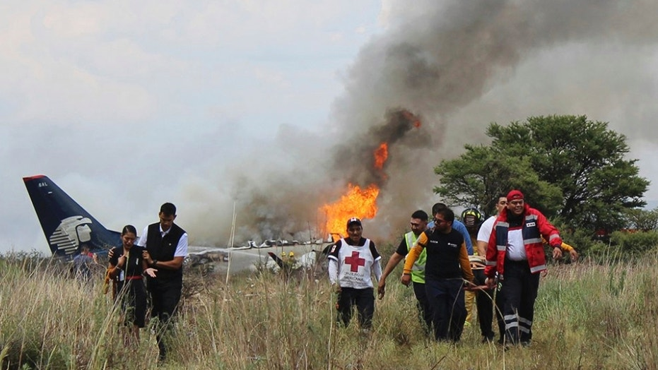 Aeromexico plane crashes in flames near airport runway