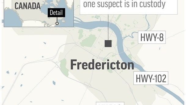 Map locates Fredericton, Canada, where a shooting left four people dead on Friday, August 10, 2018.  (Courtesy of AP)