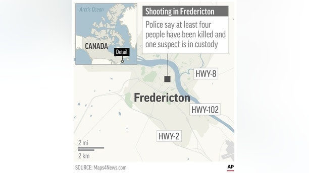 Map locates Fredericton, Canada, where a shooting has killed at least four people according to police; 2c x 3 1/2 inches; 96.3 mm x 88 mm;