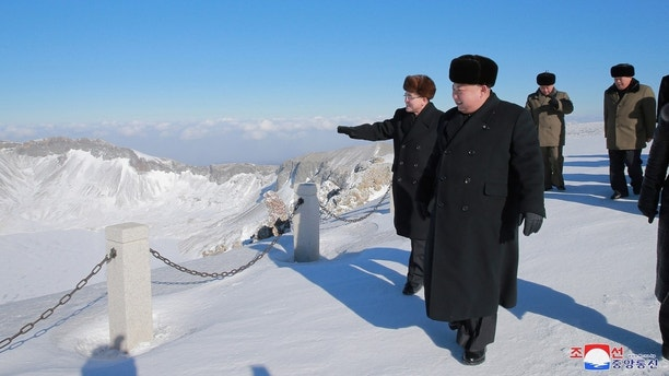 North Korean leader Kim Jong Un visits Mount Paektu in this photo released by North Korea's Korean Central News Agency (KCNA) in Pyongyang December 9, 2017.  KCNA/via REUTERS    ATTENTION EDITORS - THIS IMAGE WAS PROVIDED BY A THIRD PARTY. REUTERS IS UNABLE TO INDEPENDENTLY VERIFY THIS IMAGE. SOUTH KOREA OUT. NO THIRD PARTY SALES. NOT FOR USE BY REUTERS THIRD PARTY DISTRIBUTORS - RC14886DA130