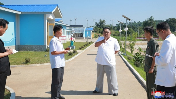 North Korean leader Kim Jong Un inspects the Station for Stocking Lake Yonphung with Fishes in Kaechon city, North Korea, in this undated photo released by North Korea's Korean Central News Agency (KCNA) on August 13, 2018. KCNA via REUTERS    ATTENTION EDITORS - THIS IMAGE WAS PROVIDED BY A THIRD PARTY. REUTERS IS UNABLE TO INDEPENDENTLY VERIFY THIS IMAGE. NO THIRD PARTY SALES. SOUTH KOREA OUT. NO COMMERCIAL OR EDITORIAL SALES IN SOUTH KOREA. - RC172EAC4F80
