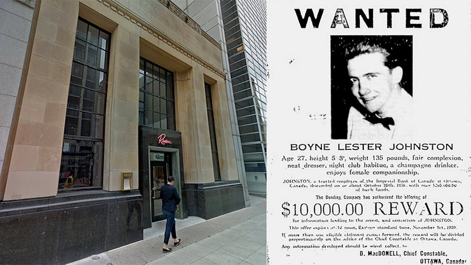 Boyne Johnston returned to the bank he robbed nearly 60 years ago, which is now a restaurant, to have a meal and talk about his time on the run.