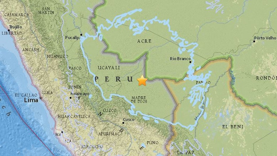 A 7.1-magnitude earthquake has struck eastern Peru, close to its borders with Bolivia and Brazil on Friday morning, the USGS reported.  (USGS)