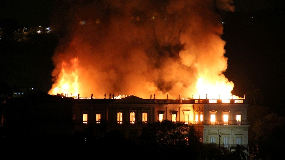 On Sunday, the flames rip through the 200-year-old Brazilian National Museum in Rio de Janeiro.