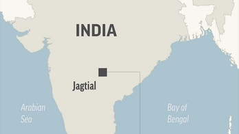 Map locates Jagtial, India, where kills at least 23 people; 1c x 2 inches; 46.5 mm x 50 mm;