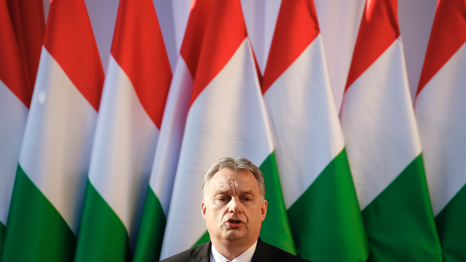 Viktor Orban speaks during the final electoral rally of his Fidesz party in Szekesfehervar Hungary. The European Parliament is set to debate a move toward imposing political