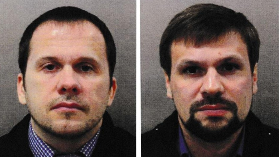 Alexander Petrov, left, and Ruslan Boshirov, are accused by Britain in the March poisoning of former spy Sergei Skripal in Salisbury.