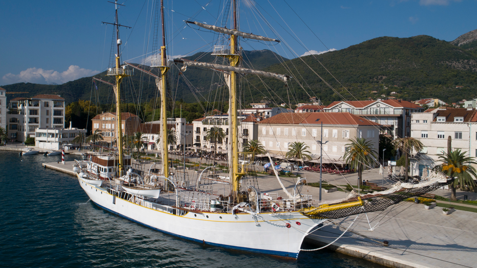 In this Sept. 6, 2018 photo, the training vessel 'Jadran' is moored in the port of Tivat, Montenegro. Montenegro and Croatia have resolved almost all of their differences more than two decades after fighting a war, except for one: an 85-year-old former Royal Yugoslav Navy training ship. The majestic sailing vessel called Jadran, or the Adriatic, is currently part of the Montenegrin naval fleet based in the port of Tivat. Croatia is demanding the return of the tall ship, which Montenegro adamantly refuses to do. (AP Photo/Darko Bandic)