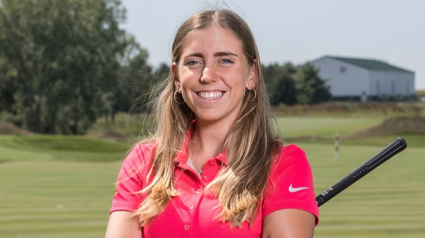 In this Sept. 7, 2017, photo provided by Iowa State University in Ames, Iowa, golfer Celia Barquin Arozamena poses for a photo. The former ISU golfer was found dead Monday, Sept. 17, 2018, at a golf course in Ames.  Collin Daniel Richards, was arrested and charged with first-degree murder in her death. (Luk   e Lu/Iowa State University via AP)