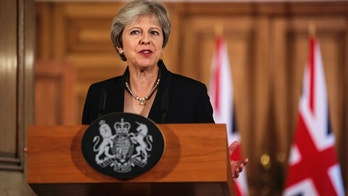British Prime Minister Theresa May makes a statement on Brexit negotiations with the European Union, at 10 Downing Street, in London, Friday, Sept. 21, 2018. The British government on Friday accused the European Union of slamming the handbrake on Brexit negotiations, after the bloc said Prime Minister Theresa May's blueprint was unworkable. A rattled May insisted that her plan was the only one on the table — and that Britain was prepared to walk away from the EU without a deal if it was rejected. ( Jack Taylor/Pool Photo via AP)