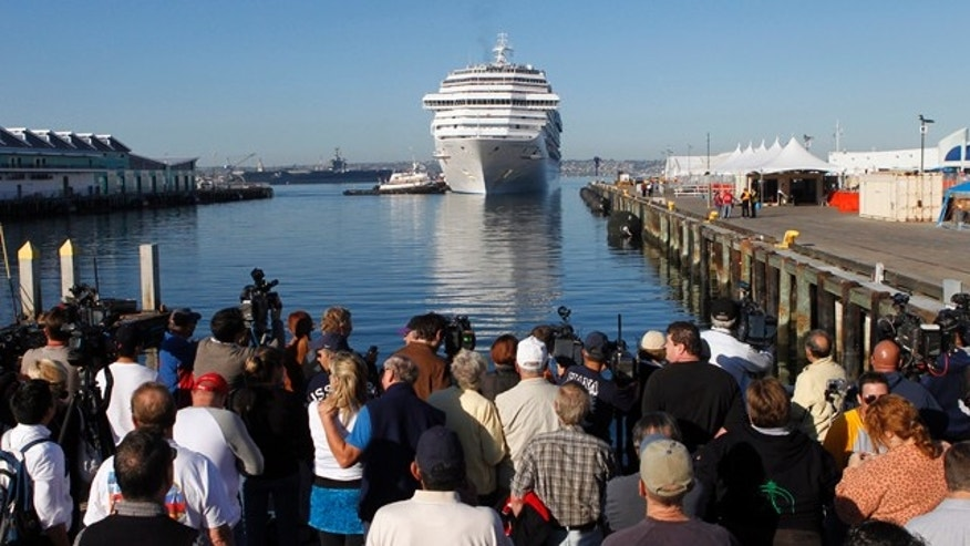 The Carnival Splendor cruise ship approaches the dock in San Diego, Calif., Thursday, Nov. 11, 2010. (AP Photo/Jae C. Hong)