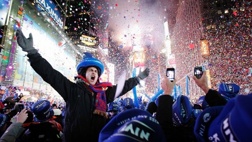 Revellers celebrate the new year in Times Square in New York January 1, 2011. REUTERS/Lucas Jackson (UNITED STATES - Tags: SOCIETY)