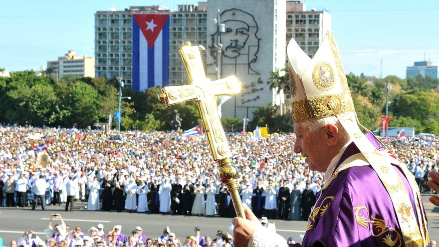 In this picture made available by the Vatican newspaper Osservatore Romano Thursday, March 29, 2012, Pope Benedict XVI arrives in Revolution Square to celebrate a mass in Havana, Cuba, Wednesday March 28, 2012. (AP Photo/Osservatore Romano)