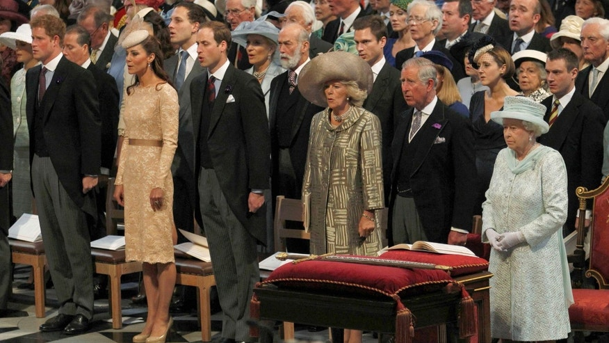 Britain's Queen Elizabeth, front right, Prince Charles, 2nd, right, Camilla Duchess of Cornwall, 3rd right, Prince William, 3rd left,  Kate Duchess of Cambridge 2nd left, and Prince Harry  attend the  thanksgiving service to celebrate  the Queen's Diamond Jubilee at St Paul's Cathedral in central London  Tuesday June 5, 2012. Four days of nationwide celebrations during which millions of people have turned out to mark Queen Elizabeth's Diamond Jubilee conclude on Tuesday with a church service and carriage procession through central London. (AP Photo/Suzanne Plunkett, Pool)