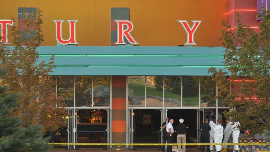 "AURORA, CO - JULY 20:  The Century 16 movie theatre is seen where a gunmen attacked movie goers during an early morning screening of the new Batman movie, ""The Dark Knight Rises"" July 20, 2012 in Aurora, Colorado. According to reports, 12 people have been killed and over 59 injured. Police have the suspect, twenty-four year old James Holmes of North Aurora, in custody.  (Photo by Thomas Cooper/Getty Images)"