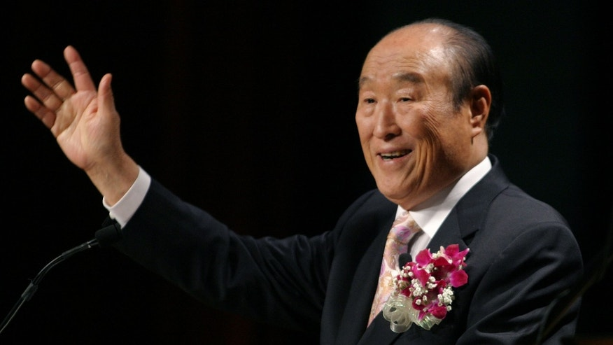 "June 25, 2005: Unification Church leader Rev. Sun Myung Moon speaks during his ""Now is God's Time"" rally in New York."