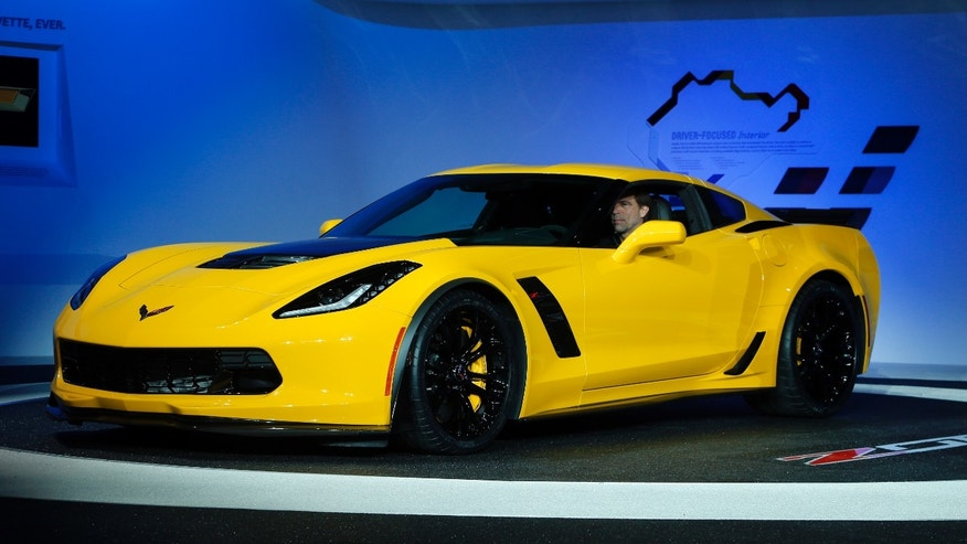 The 2015 Chevrolet Corvette Z06 debuts at media previews during the North American International Auto Show in Detroit, Monday, Jan. 13, 2014. (AP Photo/Paul Sancya)