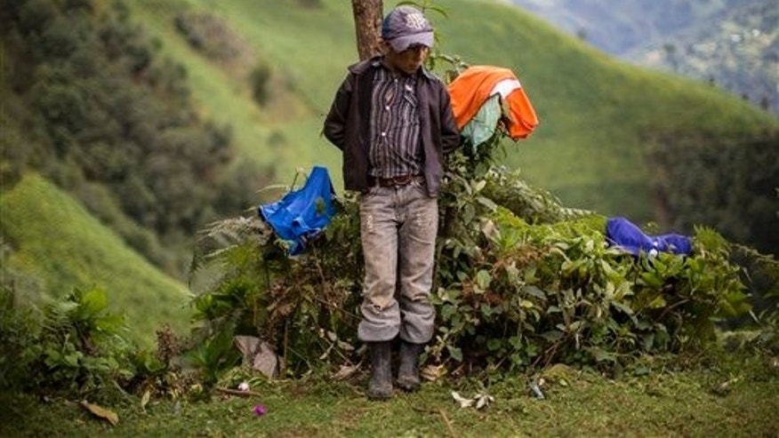 Gilberto Haroldo Ramos Juarez, 11, brother of Gilberto Francisco Ramos Juarez, a Guatemalan boy whose decomposed body was found in the Rio Grande Valley of South Texas, stands in front of his home in San Jose Las Flores, in the northern Cuchumatanes mountains of Guatemala, Tuesday, July 1, 2014. Gilberto Francisco's parents confirmed to The Associated Press on Tuesday that he was 15, and the date was wrong on his birth certificate. In the remote mountains, they had taken several years to register his birth and forgot the date. So they listed the same date as his younger brother.  (AP Photo/Luis Soto)