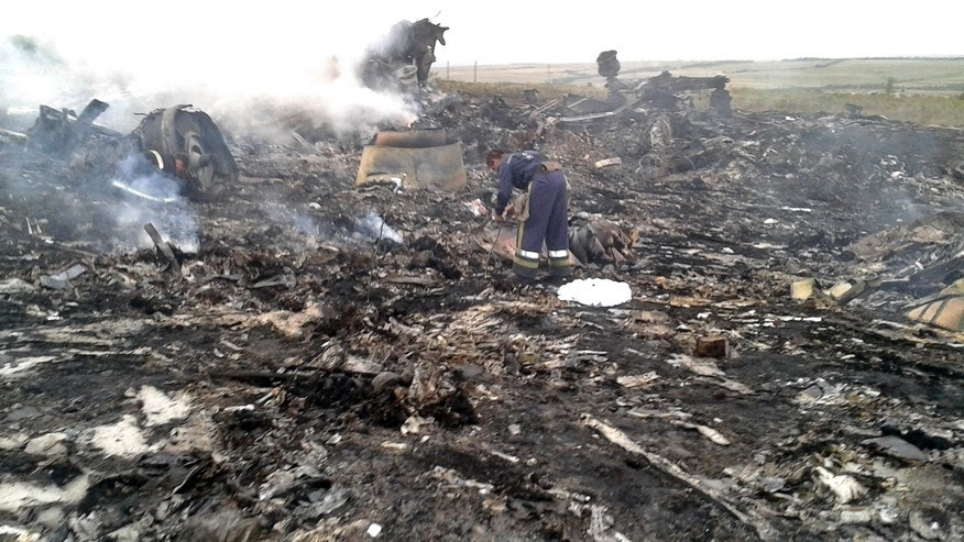 An Emergencies Ministry member works at the site of a Malaysia Airlines Boeing 777 plane crash in the settlement of Grabovo in the Donetsk region, July 17, 2014. The Malaysian airliner was shot down over eastern Ukraine by pro-Russian militants on Thursday, killing all 295 people aboard, a Ukrainian interior ministry official said. REUTERS/Maxim Zmeyev (UKRAINE - Tags: TRANSPORT DISASTER) - RTR3Z2FQ
