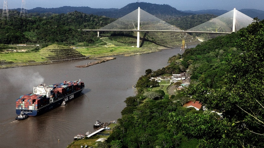 Entering the Culebra corte on the Panama Canal, 5th January 2012. Puente del Centenario in the background. (Photo by Francis Tsang/Cover/Getty Images)