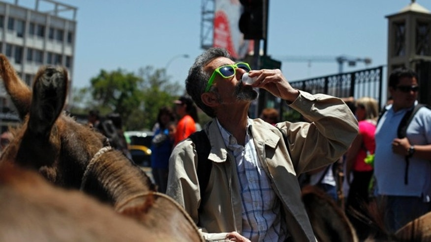 In this Dec. 15, 2014 photo, a man stops to drink fresh donkey milk in the street in Santiago, Chile. The use of donkeyís milk has persisted in some parts of the world. Even Pope Francis has said he drank it as a boy in Argentina, prompting an Italian company that produces the milk to give him two donkeys recently. (AP Photo/Luis Hidalgo)