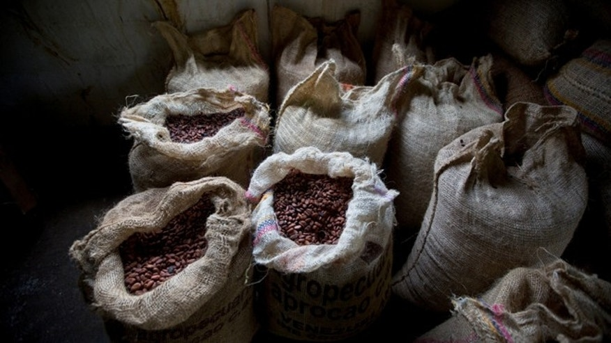 In this April 16, 2015 photo, cacao beans are stored at the Agropampatar chocolate farm Co-op in El Clavo, Venezuela. Venezuela's fine cacao, the raw ingredient for chocolate, is among the most sought-after in the world. Yet sellers can't get the crop to those who want it. This winter the government canceled export permits and the beans are still sitting in burlap sacks on the same land where they were harvested with machetes and spread in the sun with wooden rakes. Workers say some of it is starting to go bad. (AP Photo/Fernando Llano)