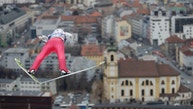 Norway's AndersFannemel soars through the air during his trial jump at the third stage of the 65th four hills ski jumping tournament in Innsbruck, Austria, Wednesday, Jan. 4, 2017. (AP Photo/Matthias Schrader)