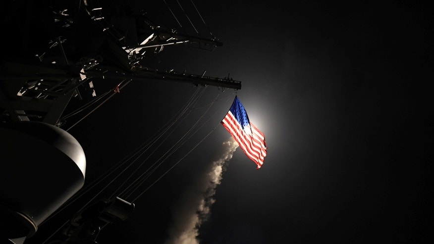 U.S. Navy guided-missile destroyer USS Porter (DDG 78) conducts strike operations while in the Mediterranean Sea which U.S. Defense Department said was a part of cruise missile strike against Syria  on April 7, 2017.  Ford Williams/Courtesy U.S. Navy/Handout via REUTERS   ATTENTION EDITORS - THIS IMAGE WAS PROVIDED BY A THIRD PARTY. EDITORIAL USE ONLY. - RTX34HHE