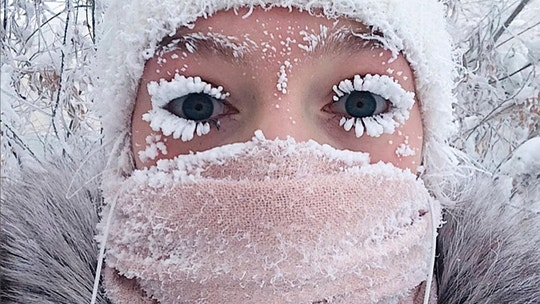 CORRECTS DATE In this photo taken on Saturday, Jan. 13, 2018, Anastasia Gruzdeva poses for selfie as the Temperature dropped to about -50 degrees (-58 degrees Fahrenheit) in Yakutsk, Russia. Temperatures in the remote, diamond-rich Russian region of Yakutia have dropped to near-record lows, plunging to -67 degrees Centigrade (-88.6 degrees Fahrenheit) in some areas. (sakhalife.ru photo via AP)