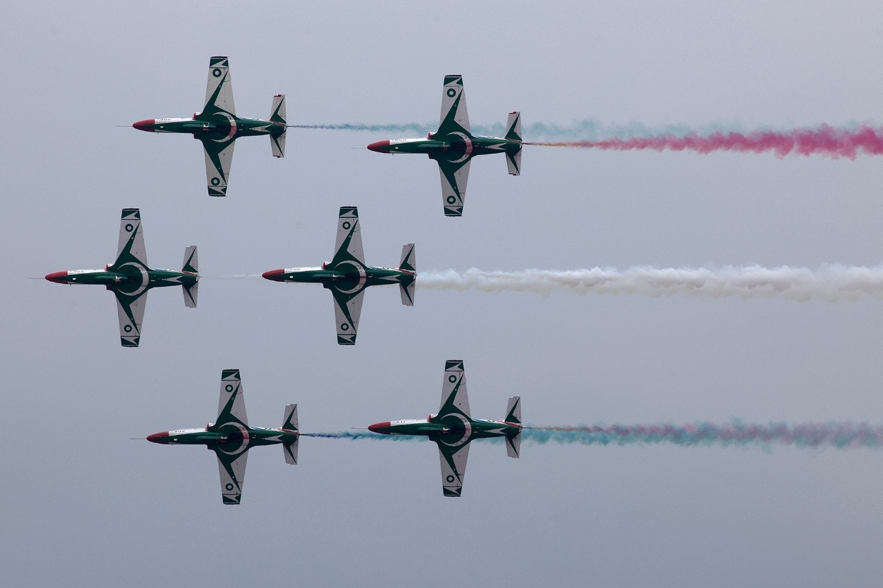 Pakistani Air Force jets during an aerobatic performance for a military parade to mark Pakistan's Republic Day in Islamabad, March 21, 2018