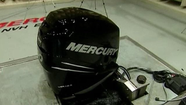 Listen to that engine purr: 300 horsepower Mercury Marine engine