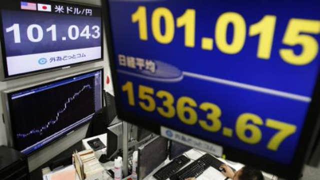 Asian shares climb, Japan exits recession
