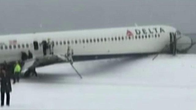 Delta plane skids off LaGuardia Airport runway