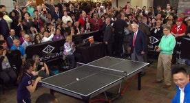 Laying the paddle down: Buffett, Gates play ping pong