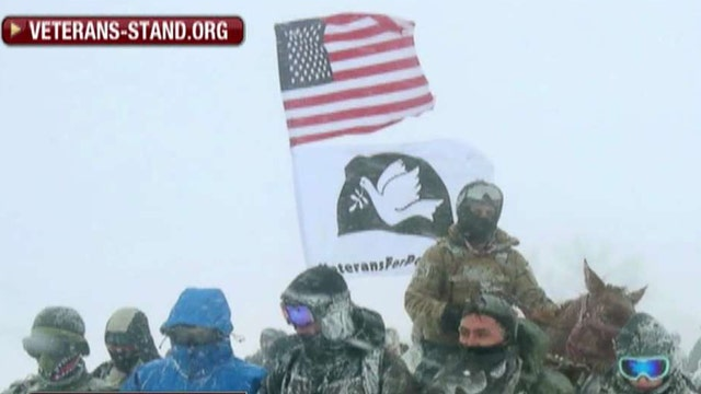 U.S. military vets stand by Dakota pipeline protesters