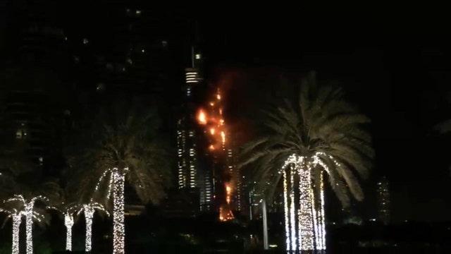 Dubai hotel on fire near fireworks celebration
