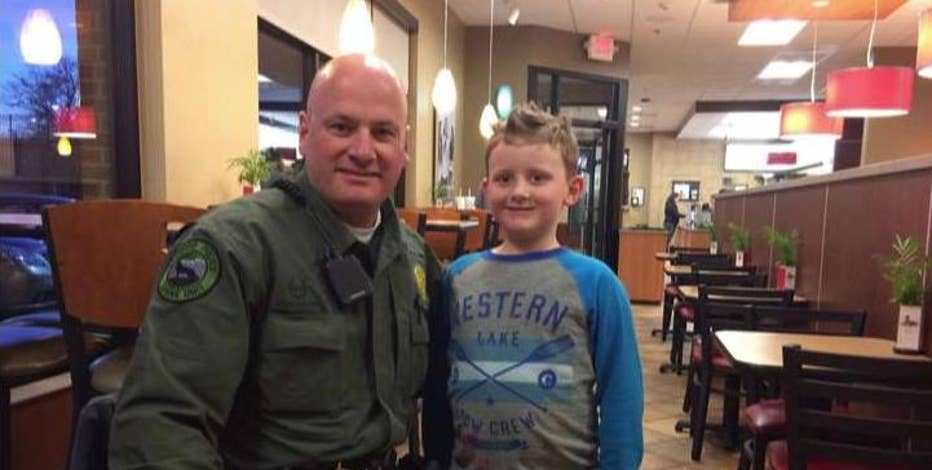 Lakewood, Colo. Police Department's Officer Ryan O'Hayre and seven-year-old Hunter Steffes on the thank you note getting national media attention.