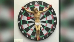 The art exhibit inside a campus library at Rutgers University was sickening – Jesus crucified on a dartboard.