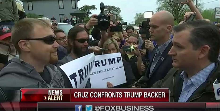 Senator Ted Cruz (R-TX) confronts a Donald Trump supporter outside of an Indiana restaurant.