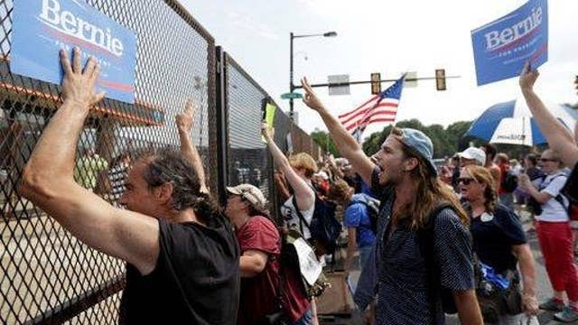 Sanders protesters locked out