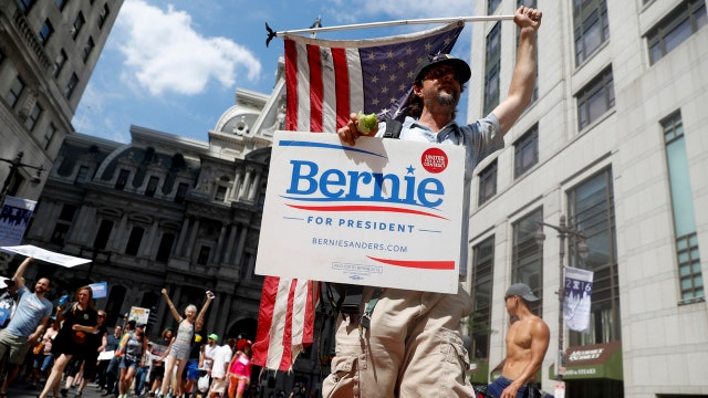 Sanders supporters protest at the DNC
