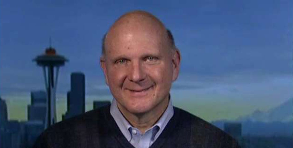 Former Microsoft CEO Steve Ballmer reacts to President-elect Donald Trump's leadership and government's role in the business.